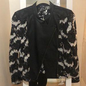 AQUA leather and lace blazer